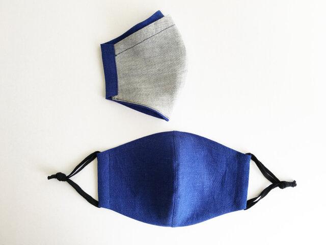 リネンとダブルガーゼのポケット仕様立体マスク_Blueの画像1枚目