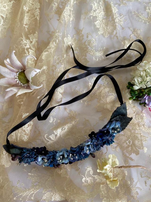 布花 Necklace of blue flowers Bの画像1枚目