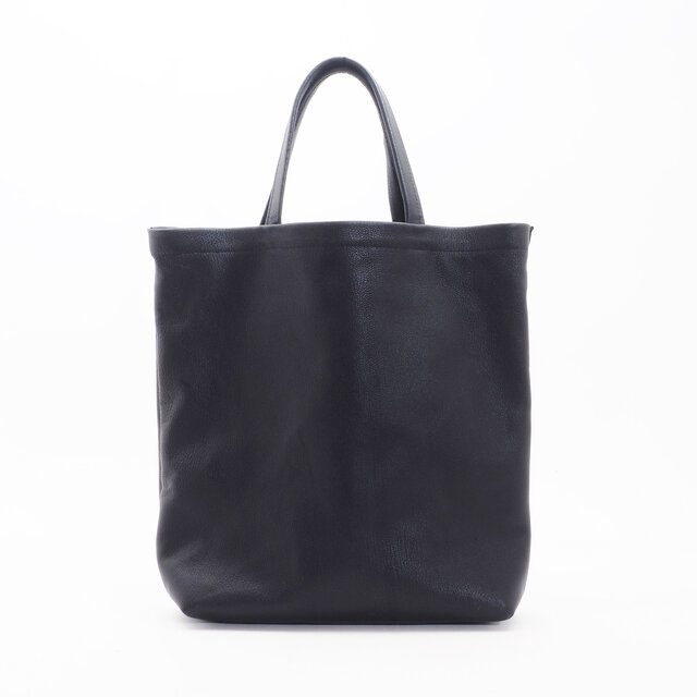 GoatLeatherHandbag(黒)/白糸/山羊革/HB007の画像1枚目