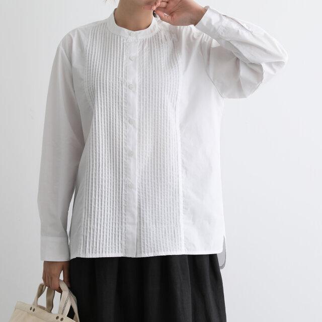 いつまでも愛せる 永遠の定番フロントピンタックシャツチュニック コットンシャツ 200901-1の画像1枚目