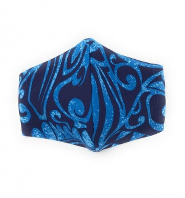 ハワイアン ファッション マスク(3D扇型・蒸れにくい・ファンデーション対策対応) カヒコ柄 ブルー Lサイズの画像1枚目
