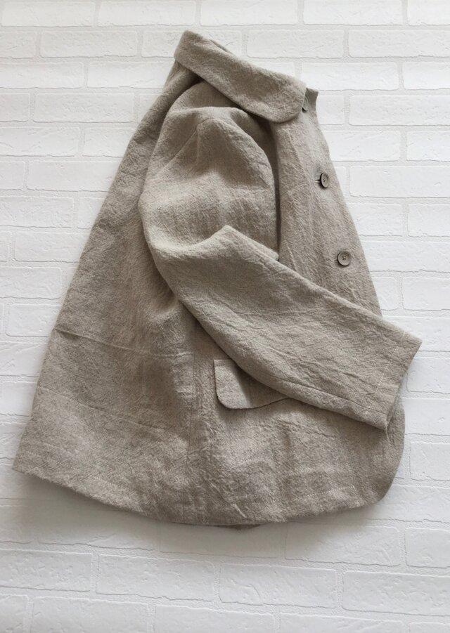 リネン丸衿ジャケットの画像1枚目