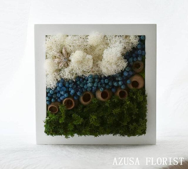 商品番号703「-海辺の雲-」プリザーブドアートフレームの画像1枚目