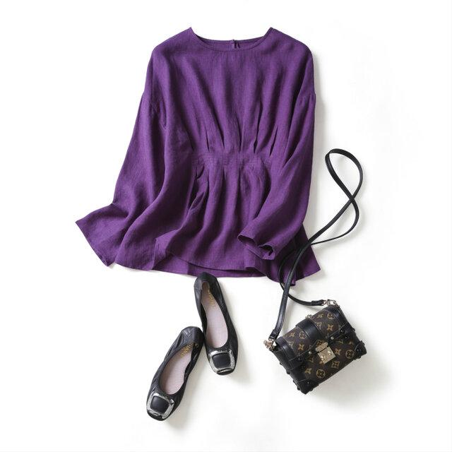 おしゃれ印象になる大人のリネンブラウス フレアブラウス 長袖 三色 紫 200902-2の画像1枚目
