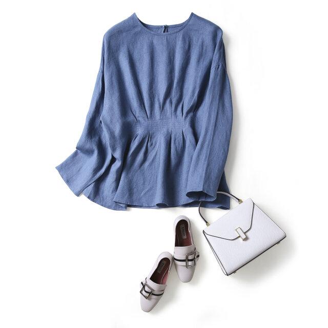 おしゃれ印象になる大人のリネンブラウス フレアブラウス 長袖 三色 ブルー 200902-3の画像1枚目