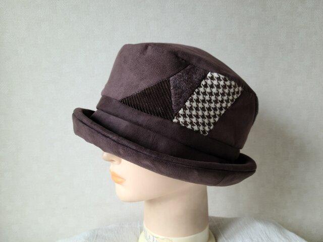 魅せる帽子☆スエードとウールのパッチワーク風ソフトハット~ブラウンの画像1枚目