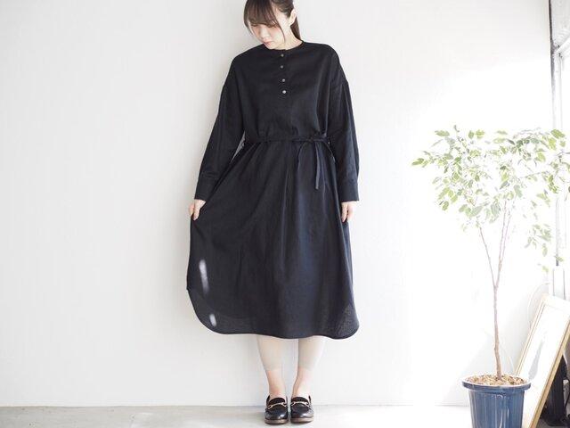 コットンリネンのシャツワンピ  ブラック No.136-01の画像1枚目