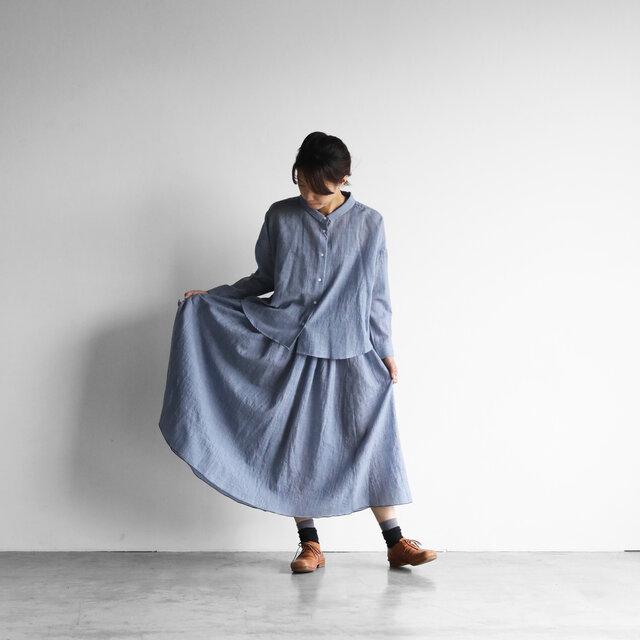 ウォッシャブルウールロングスカート(グレイッシュブルー)【レディス】の画像1枚目