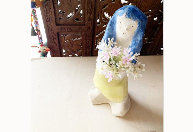 【オーダー】青い髪フラワーポット全身像の画像1枚目