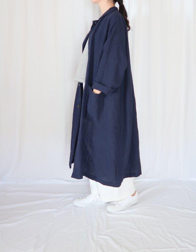 秋の新作♡強撚リネン・オーバーサイズコート・ネイビー・こなれ感の画像1枚目