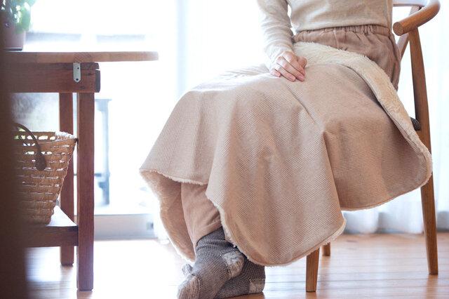 Organic Cotton Fur ブランケット【ブラウンコットンチェック】の画像1枚目