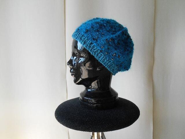 エメグリーンモヘアのスパンコールベレー帽の画像1枚目