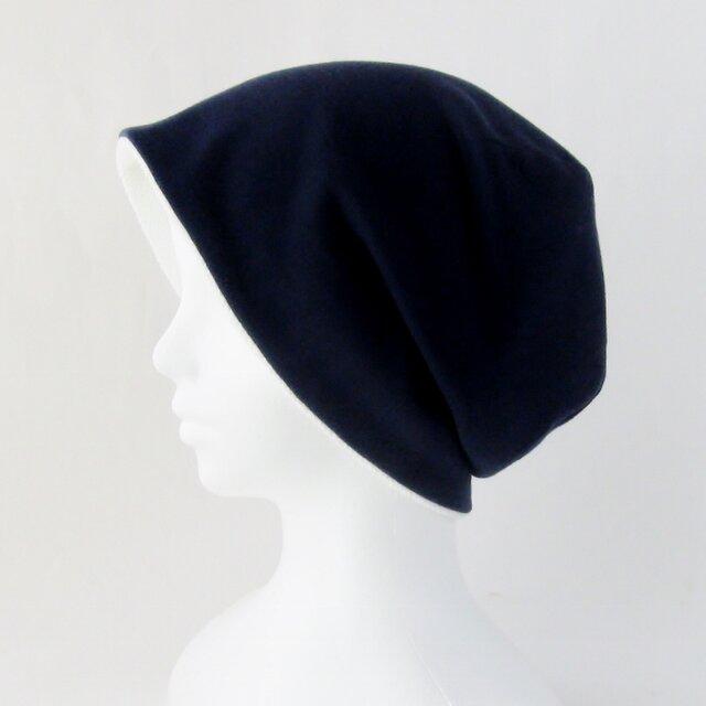 ゆるいリバーシブル帽子 紺 白タオル  (CSR-012-I3)の画像1枚目