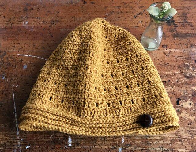 玉編みニット帽子(シルク&ウール)の画像1枚目