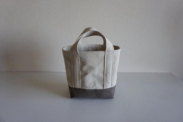 TOTE BAG -bicolor- (S) / ecru × smokybrownの画像1枚目