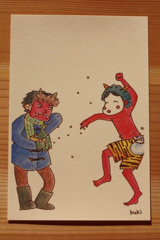 鬼が福のポストカード/空から豆がポストカードの画像1枚目