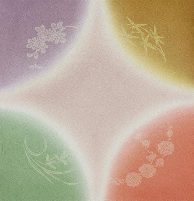 風呂敷 ふろしき    引染 四君子 ハトバ 正絹 絹100% 45cm×45cmの画像1枚目