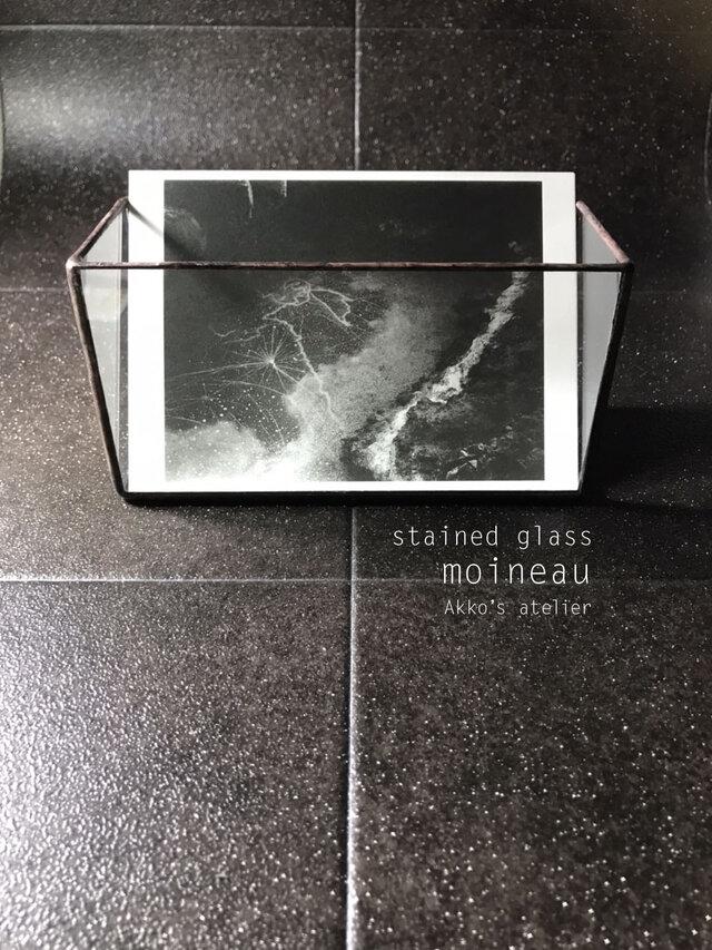 ステンドグラス シンプル ガラス収納ケース メイクボックス はがきスタンド カードホルダー フォトスタンド の画像1枚目