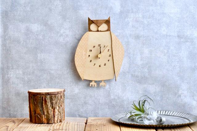 コノハズクの時計 木製 掛け時計の画像1枚目