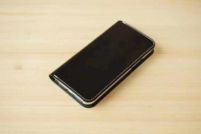 牛革 iPhone 11 Pro Max カバー  ヌメ革  レザーケース  手帳型  ブラックカラーの画像1枚目