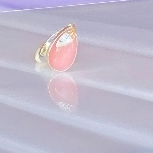 Pink Opal Leaf Ringの画像1枚目