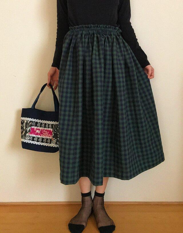 ギンガムチェック コットンリネン あなたサイズのギャザースカートの画像1枚目