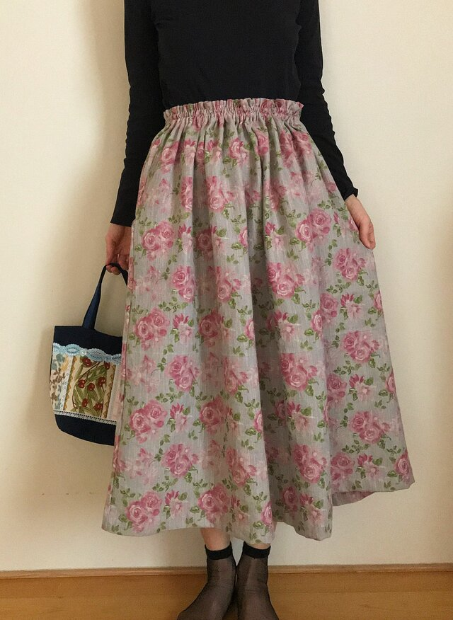 セミオーダー 厚手コットンリネン あなたサイズのギャザースカートの画像1枚目
