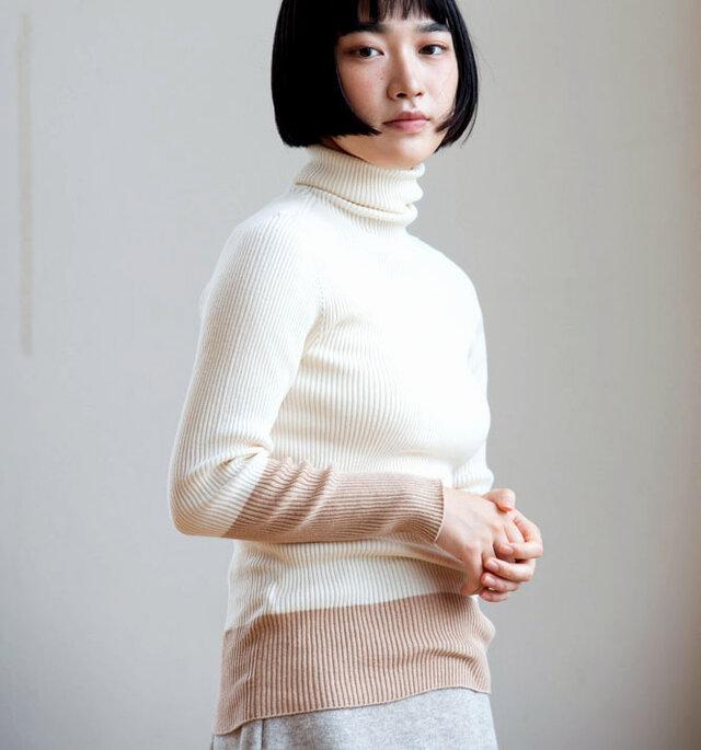 Organic Cotton無縫製バイカラーリブタートルセーター【Lサイズ】の画像1枚目