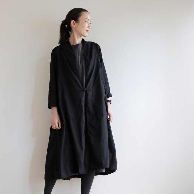 CHIAN long gown Linen cotton / blackの画像1枚目