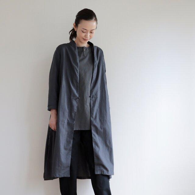CHIAN long gown Linen cotton / grayの画像1枚目