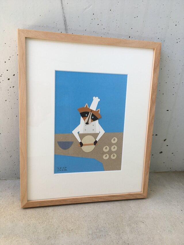 「アライグマのパン屋さん」原画 額装こみの画像1枚目