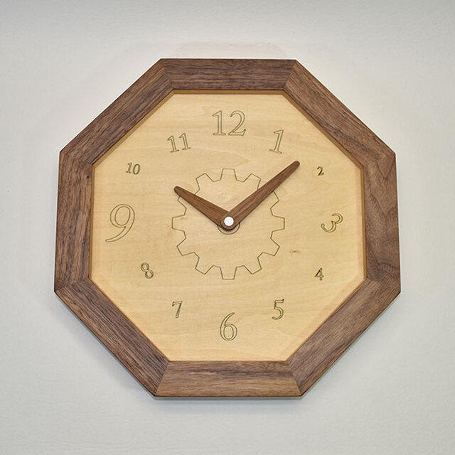 壁掛け八角時計 ウォールナット 数字の画像1枚目