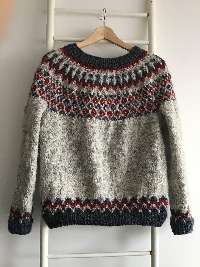 手編みセーター アイスランドロピ トリコロールの画像1枚目