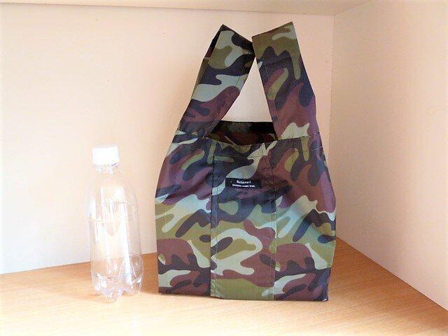 軽量ナイロン素材の小さめエコバッグ(カモフラグリーンカーキ)の画像1枚目