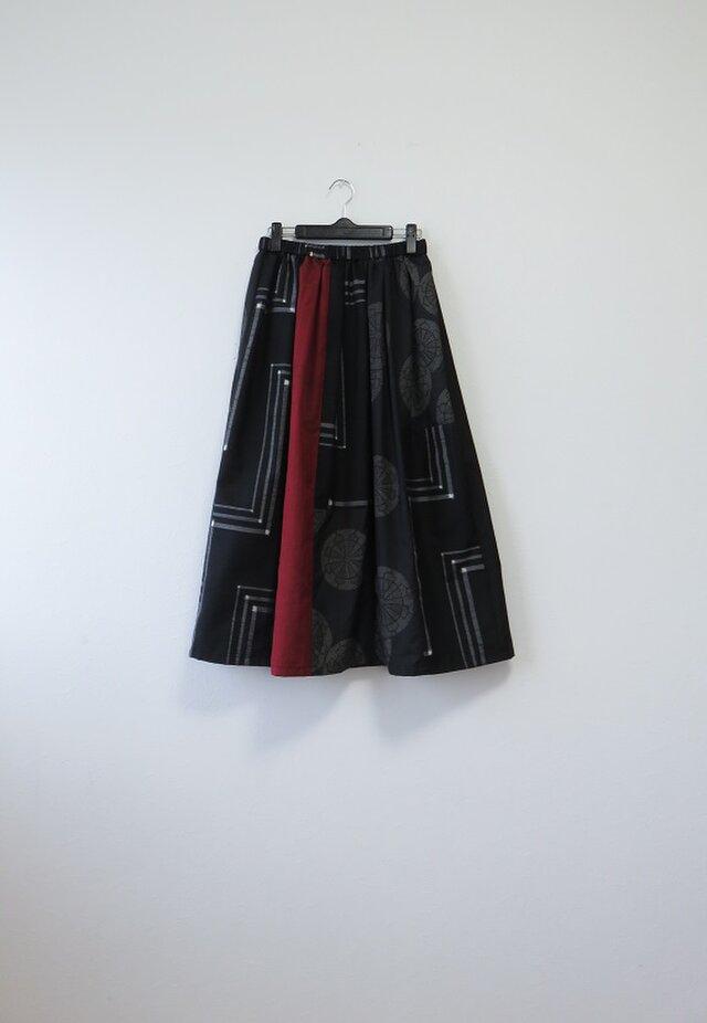 *アンティーク着物*手織り紬のパッチスカート(裏地つき)の画像1枚目