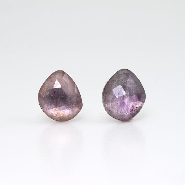Purple tourmaline mirror earring / Singleの画像1枚目
