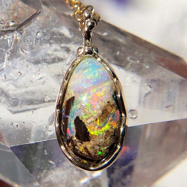K10☆天然ボルダーオパールネックレス1.77ct☆オーストラリア・Yowah産の原石から磨いた1点もの!の画像1枚目