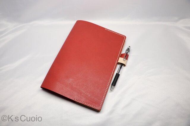 ヌメ革 手縫いのシンプル手帳カバー(レッド色)の画像1枚目