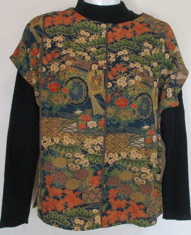 5193 花柄の着物で作ったベスト #送料無料の画像1枚目
