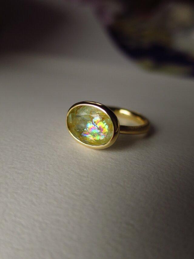 K18 Yellow Beryl Iris Ring の画像1枚目