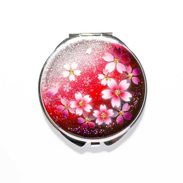 鏡  丸ミラー 紅桜 コンパクトミラー 銀箔の画像1枚目