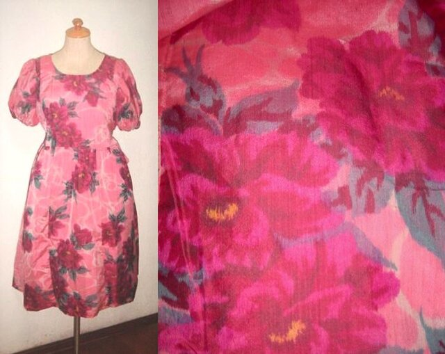 Sold Out着物リメイク♪牡丹が素敵な銘仙ワンピース♪ハンドメイド・花柄・ピンク・シルクの画像1枚目