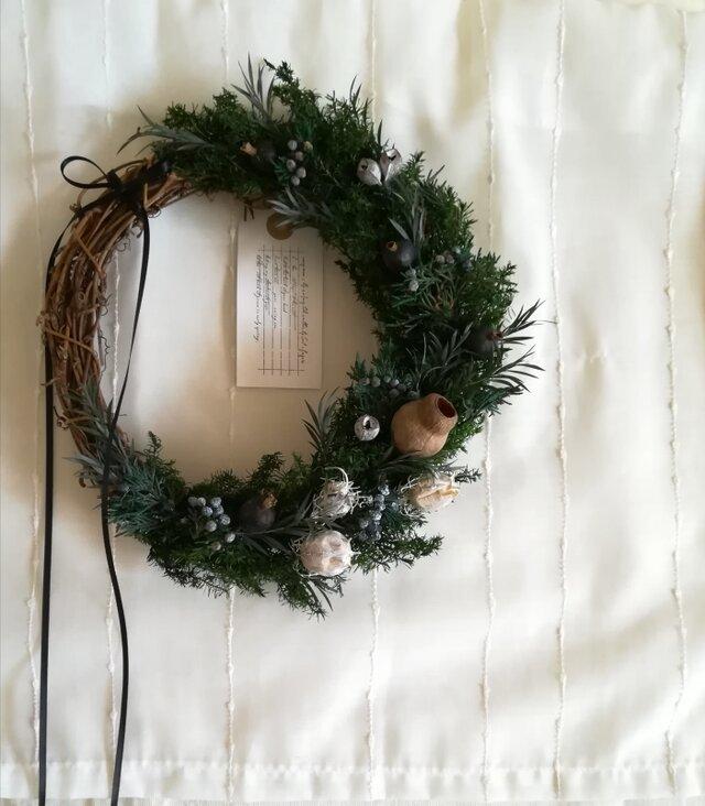 【受注製作】ヒムロスギの深い森wreath(リース プリザーブドフラワー ドライフラワー アンティーク)の画像1枚目