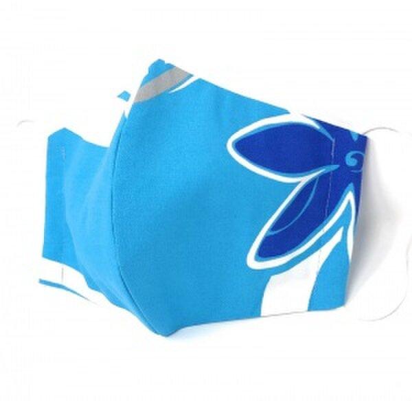 ハワイアン ファブリック ファッション・3Dマスク(扇型) ブルー Lサイズ[mfm3Q-220LP2の画像1枚目