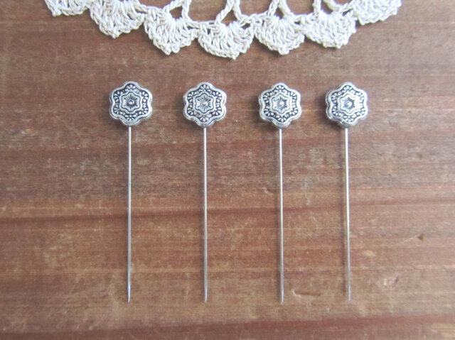 シルバーメタル花ビーズの待ち針 4本セットの画像1枚目