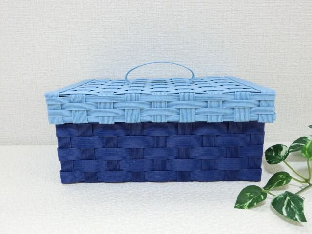 クラフトカゴ 蓋付き マスク保管カゴに アクアブルー×ブルーの画像1枚目