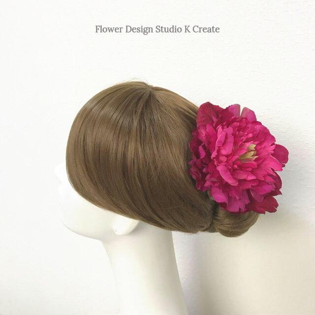 フフラメンコ・ダンス髪飾りに♡ローズピンクのピオニーのヘッドドレス ピンク 芍薬 ダンス 髪飾り ローズピンク 浴衣の画像1枚目