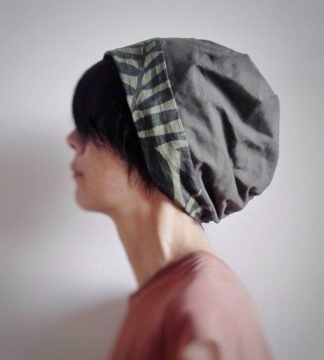 ターバンな帽子 カーキ+グレージュ 送料無料の画像1枚目