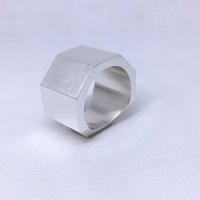 ごついオクタゴン(八角形)のシルバーリング、オールマットの画像1枚目