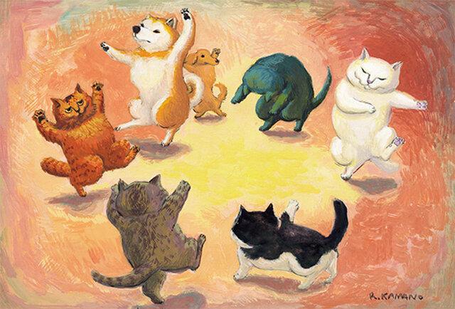 カマノレイコ オリジナル猫ポストカード「おどり」2枚セットの画像1枚目